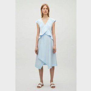 COS Sky Blue Draped Cap Sleeve Dress 14 Ruffle